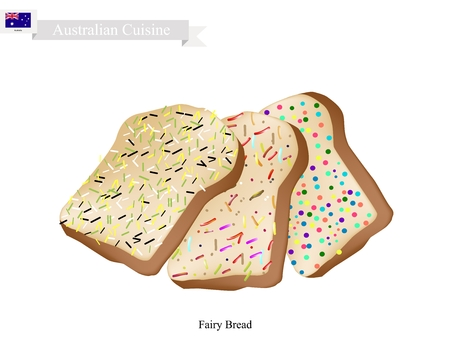オーストラリア料理、妖精パンまたは振りかけるまたは色キャンディーで飾られた伝統的な食パン。オーストラリアの Tha の最も人気のあるデザートの 1 つ。