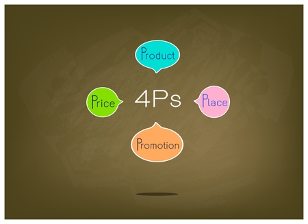 market place: Business Concepts, Illustration of Marketing Mix Diagram or 4Ps Model for Management Strategy on Brown Chalkboard. A Foundation Concept in Marketing. Illustration