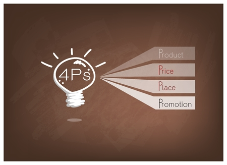 market place: Business Concepts, Illustration of 4Ps Model or Marketing Mix Diagram for Management Strategy with Light Bulb on Brown Chalkboard. A Foundation Concept in Marketing.