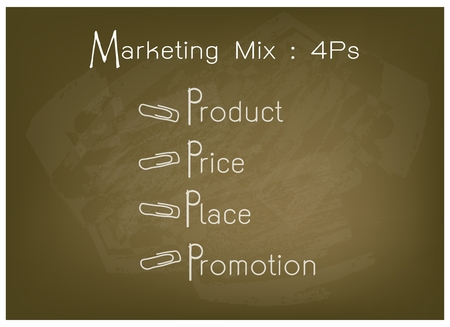 Business Concepts, Illustration of 4Ps Model or Marketing Mix Diagram for Management Strategy on Brown Chalkboard. A Foundation Concept in Marketing.