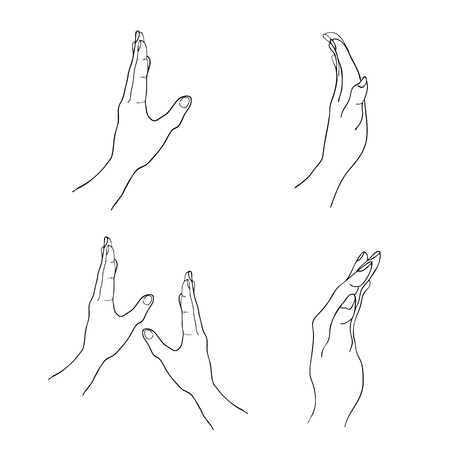 reaches: Hand Drawn Sketch Set of Open Empty Hand Reaches Out Against Isolated on White Background. Illustration