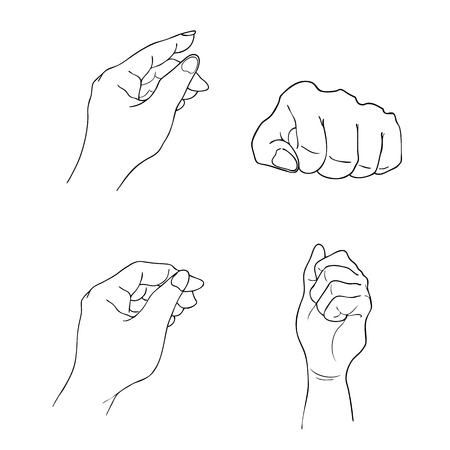 Hand getrokken schets Set Hand tekenen gebaren, wijzen, aanraken, geïsoleerd op een witte achtergrond te houden. Vector Illustratie