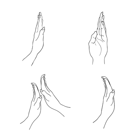 begging: Hand Drawn Sketch Set of Open Empty Hand Reaches Out Against Isolated on White Background. Illustration
