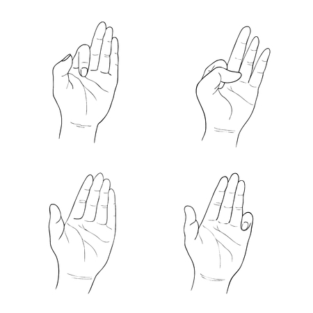 begging: Hand Drawn Sketch Set of Hand Signs Gestures or Body  Language Isolated on White Background.