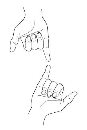 outstretched: Hand Drawn Sketch of Body  Language of Two Shaka Hand or Surfer Sign Isolated on White Background. Illustration