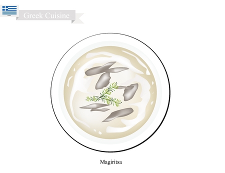 Greek Cuisine, Magiritsa or Traditional Easter Sunday Soup Made From Lamb Offal with Mushrooms and Vegetables.