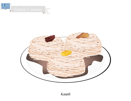 Greek Cuisine, Loukoumades or Traditional Dessert Balls Topping with Syrup and Almond. One of Most Popular Desserts in Greece. Illustration