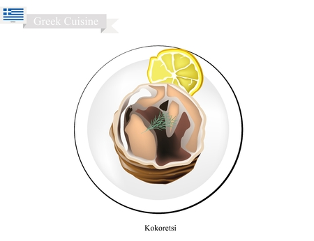 Greek Cuisine, Illustration of Traditional Grilled Kokoretsi or Rolls of Seasoned Lamb or Goat Offal Roasted on Wood Fire.
