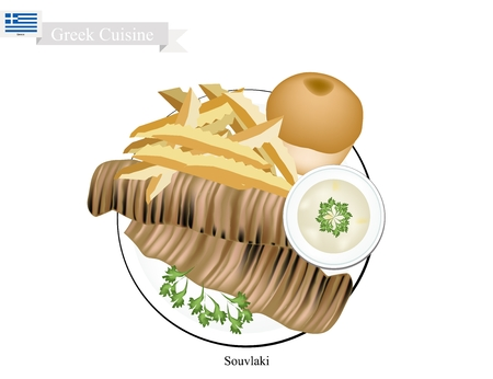 Greek Cuisine, Souvlaki or Traditional Grilled Kebabs Meat Served with Bread and French Fries. The National Dish of Greece. Illustration