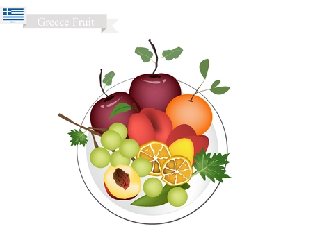 Greek Fruit, Ripe and Sweet Olive, Apple, Assyrtiko Grapes, Orange and Peach. The Most Popular Fruits of Greece. Illustration