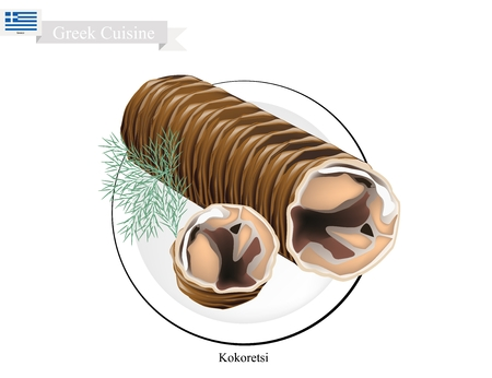 roasted: Greek Cuisine, Illustration of Traditional Grilled Kokoretsi or Rolls of Seasoned Lamb or Goat Offal Roasted on Wood Fire. One of The Most Popular Dish in Greece.