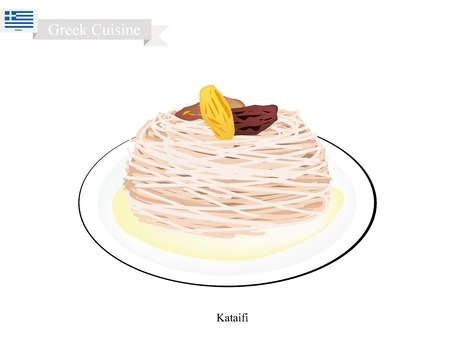 most popular: Greek Cuisine, Bulbul Nest Kataifi or Traditional Levantine Cheese Pastry Topping with Pistachio and Syrup. One of The Most Popular Dessert in Greece.
