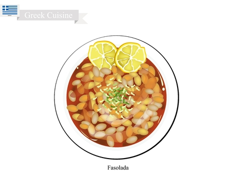 Greek Cuisine, Fasolada or Bean Soup made with Cannellini Beans, Olive Oil and Vegetables. The National Dish of Greece. Çizim