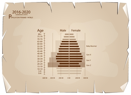 Population and Demography, Population Pyramids Chart or Age Structure Graph with Baby Boomers Generation, Gen X, Gen Y and Gen Z in 2016 to 2020 on Old Antique Vintage Grunge Paper Texture Background. Illustration