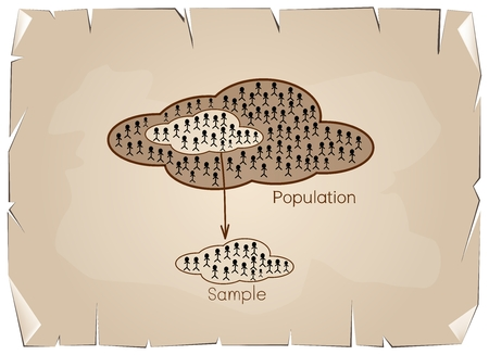 size distribution: Business and Marketing or Social Research, The Process of Selecting Sample of Elements From Target Population to Conduct A Survey on Old Antique Vintage Grunge Paper Texture Background. Illustration