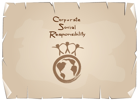note pad: Business Concepts, World Environment with CSR Abbreviation or Corporate Social Responsibility Achieve Notes on Old Antique Vintage Grunge Paper Texture Background.