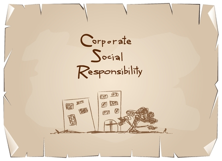 achievement concept: Business Concepts, Green Paper with CSR Abbreviation or Corporate Social Responsibility Achieve Notes on Old Antique Vintage Grunge Paper Texture Background. Illustration