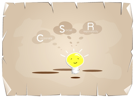 Business Concepts, Cartoon of Glowing Yellow Electric Light Bulb Smiling As Inspiration Concept with CSR Abbreviation or Corporate Social Responsibility on Old Antique Vintage Grunge Paper Background.