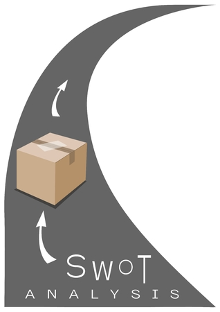 Sealed Cardboard Box on The Road with SWOT Analysis Matrix A Structured Planning Method for Evaluate Strengths, Weaknesses, Opportunities and Threats Involved in Business Project.