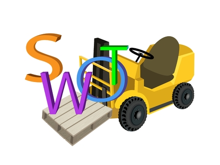 Fork Truck or Lift Truck Loading Word SWOT A Structured Planning Method for Evaluate Strengths, Weaknesses, Opportunities and Threats Involved in Business Project.