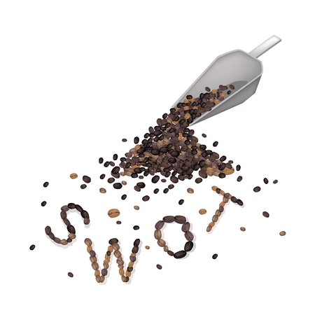 Roasted Coffee Beans Forming in SWOT Wording, SWOT Analysis Matrix A Structured Planning Method for Evaluate Strengths, Weaknesses, Opportunities and Threats. A Foundation Strategy Management Plan. Illustration