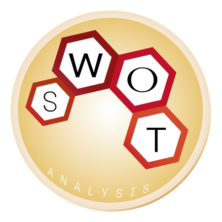 Business Concepts, SWOT Analysis Matrix A Structured Planning Method for Evaluate Strengths, Weaknesses, Opportunities and Threats Involved in Business Project in Hexagons Frame.