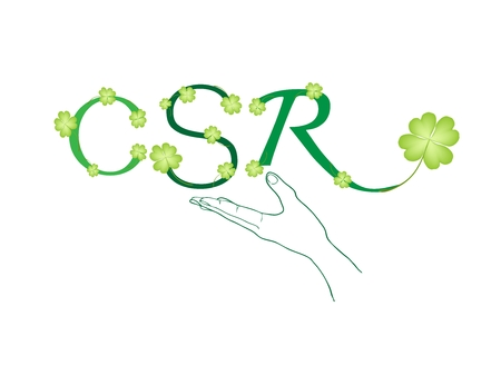 Business Concepts, Hand Holding Beautiful Green Leaves with CSR Abbreviation or Corporate Social Responsibility. Illustration