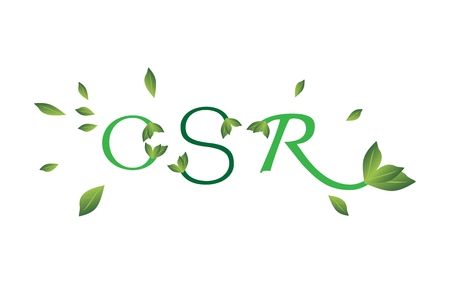 Business Concepts, CSR Abbreviation or Corporate Social Responsibility Decorated with Green Leaves.