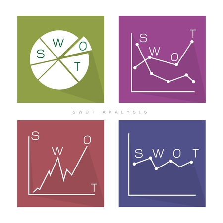 weaknesses: Business Graph and Chart Set of SWOT Analysis Matrix A Structured Planning Method for Evaluate Strengths, Weaknesses, Opportunities and Threats Involved in Business Project. A Foundation Strategy Management Plan.