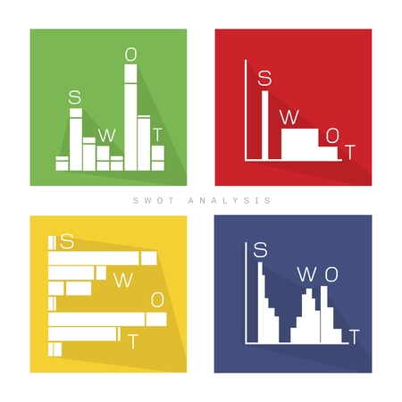 weaknesses: Business Bar Chart of SWOT Analysis Matrix A Structured Planning Method for Evaluate Strengths, Weaknesses, Opportunities and Threats Involved in Business Project. A Foundation Strategy Management Plan. Illustration