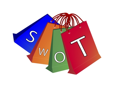 Paper Shopping Bags with SWOT Analysis Matrix A Structured Planning Method for Evaluate Strengths, Weaknesses, Opportunities and Threats Involved in Business Project.  Illustration