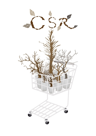 Business Strategy, Shopping Cart Full with Brown Dry Trees and Plants in CSR Abbreviation or Corporate Social Responsibility Concept.