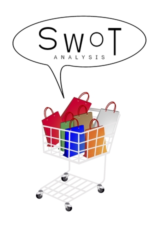 Shopping Cart Full with Shopping Bag or Gift Bag with SWOT Analysis Matrix A Structured Planning Method for Evaluate Strengths, Weaknesses, Opportunities and Threats Involved in Business Project. Illustration