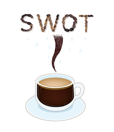 Roasted Coffee Beans Forming in SWOT Falling Down to A Cup, SWOT Analysis Matrix A Structured Planning Method for Evaluate Strengths, Weaknesses, Opportunities and Threats.