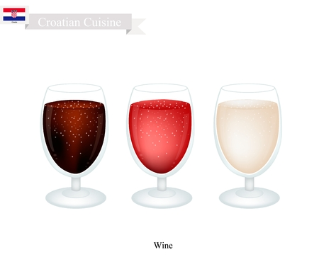 Croatian Cuisine, Wine Is A Traditional Alcoholic Beverage. One of The Most Popular Drink in Croatia.