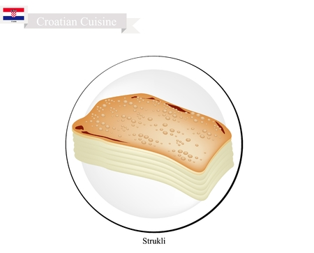 cottage cheese: Croatian Cuisine, Strukle or Strukli The Traditional Appetizer Roll Cake Made From Buckwheat Flour and Filled With Cottage Cheese. One of Most Popular Dish in Croatia. Illustration