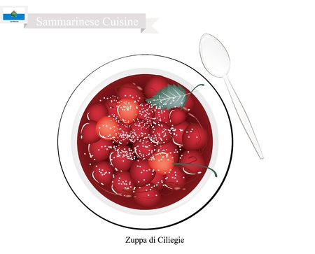 Sammarinese Cuisine, Zuppa di Ciliegie or Traditional Cherries Stewed in Sweetened Red Wine. One of The Most Famous Dessert Of San Marino.