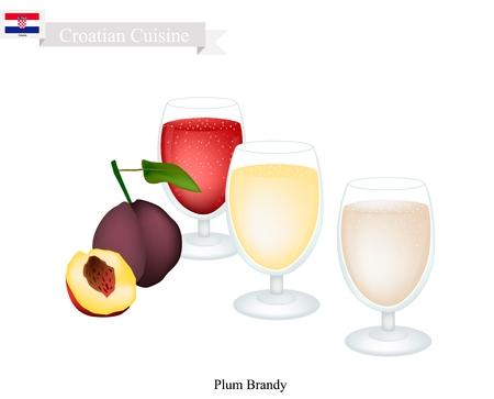 Kroatische Küche, Slivovitz oder traditionelle alkoholische Pflaume Brandy. Eines der beliebtesten Drink in Kroatien.