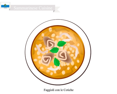 popular soup: Sammarinese Cuisine, Faggioli con le Cotiche or Traditional Soup Made of Bean and Bacon Generally Served at Christmas. One of The Most Famous Dish Of San Marino.