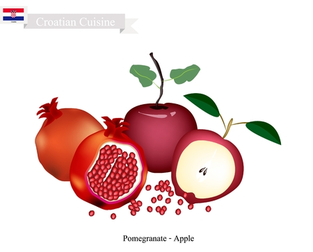 national fruit of china: Croatia Fruit, Sweet Ripe Apple and Pomegranate. The Most Famous Fruits of Croatia.
