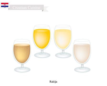 Kroatische Küche, Rakia oder Rakija Die traditionelle alkoholische Fruchtbranntwein aus fermentierter Frucht. Eines der beliebtesten Drink in Kroatien.