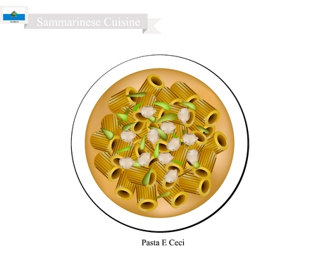 Sammarinese Cuisine, Pasta E Ceci or Macaroni Pasta with Chickpeas Soup. One of The Most Popular Dish in San Marino. Illustration