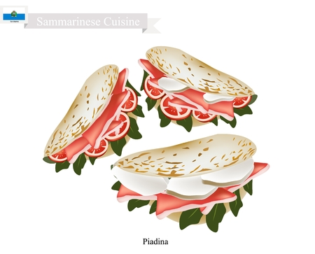Sammarinese Cuisine, Illustration of Piadina or Flat Bread Filled with Roasted Meat or Ham, Cheese and Vegetables. One of The Most Popular Dish in San Marino.