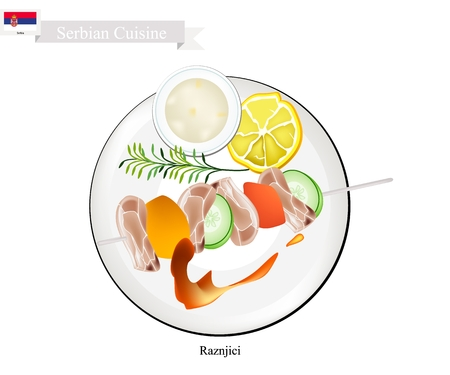 most popular: Serbian Cuisine, Raznjici or Traditional Grilled Meat Barbecue on Skewers Served with Tartar Sauce. One of The Most Popular Dish of Serbia