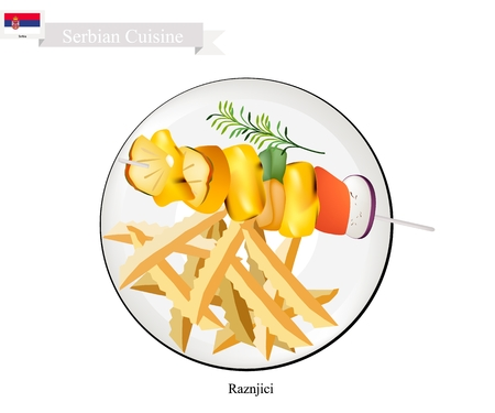 Serbian Cuisine, Raznjici or Traditional Grilled Meat Barbecue on Skewers Served with French Fries. One of The Most Popular Dish of Serbia