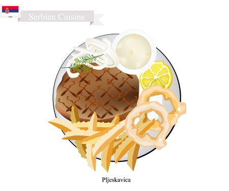 patties: Serbian Cuisine, Illustration of Pljeskavica or Traditional Meat Patties of Pork, Beef and Lamb. The National Dish of Serbia.