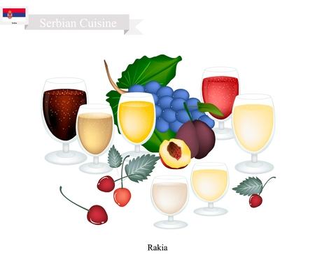 Serbische Küche, Rakia oder traditionelle alkoholische Fruchtbranntwein. Eines der beliebtesten Drink in Serbien. Standard-Bild - 81572578