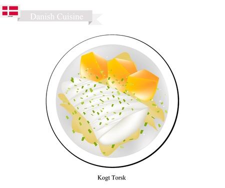 Cuisine danoise, illustration de Kogt Torsk ou filet de morue bouilli traditionnel servi avec sauce à la moutarde et pommes de terre bouillies. L'un des plats les plus célèbres au Danemark.