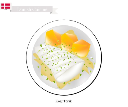 Danish Cuisine, Illustration of Kogt Torsk or Traditional Boiled Cod Fillet Served with Mustard Sauce and Boiled Potatoes. One of The Most Famous Dish in Denmark. Illustration