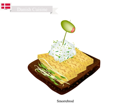 Danish Cuisine, Illustration of Smorrebrod or Traditional Buttered Rye Bread or Dark Rye Bread Topped with Omelet, Pickled Olive and Tartar Sauce. The National Dish of Denmark. Illustration